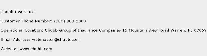 Chubb Insurance Phone Number Customer Service