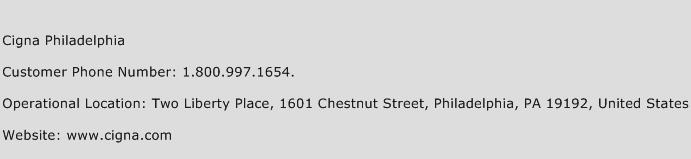 Cigna Philadelphia Phone Number Customer Service