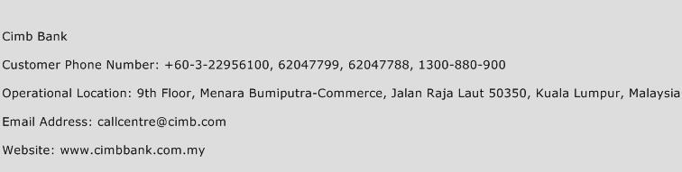 Cimb Bank Phone Number Customer Service