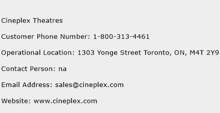 Cineplex Theatres Phone Number Customer Service