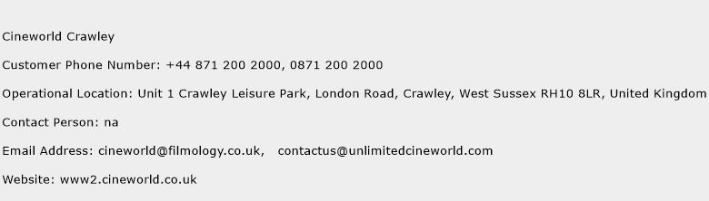 Cineworld Crawley Phone Number Customer Service