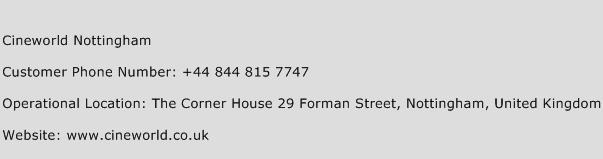 Cineworld Nottingham Phone Number Customer Service