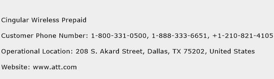 Cingular Wireless Prepaid Phone Number Customer Service