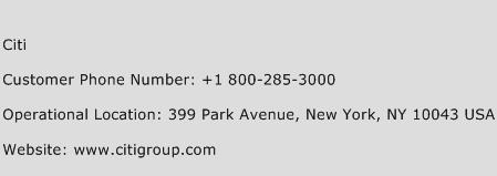 Citi Phone Number Customer Service