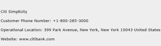 Citi Simplicity Phone Number Customer Service