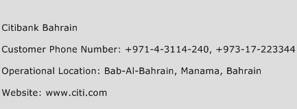 Citibank Bahrain Phone Number Customer Service