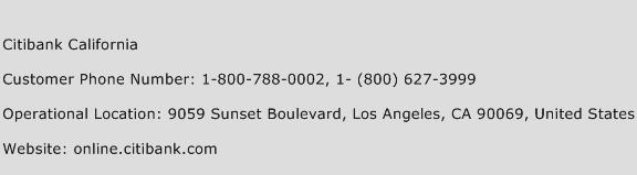 Citibank California Phone Number Customer Service