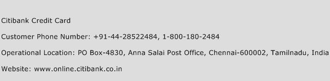 Citibank Credit Card Phone Number Customer Service