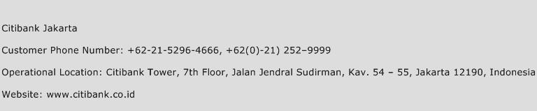 Citibank Jakarta Phone Number Customer Service