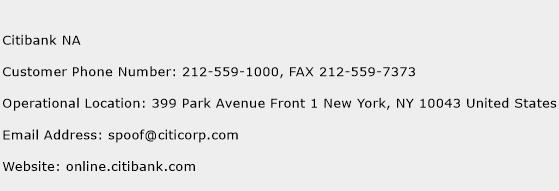 Citibank NA Phone Number Customer Service