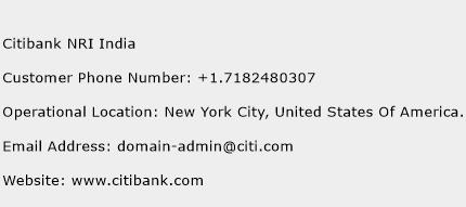 Citibank NRI India Phone Number Customer Service