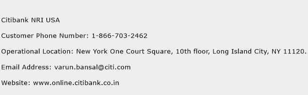 Citibank NRI USA Phone Number Customer Service