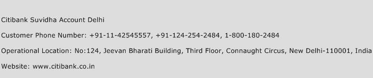 Citibank Suvidha Account Delhi Phone Number Customer Service