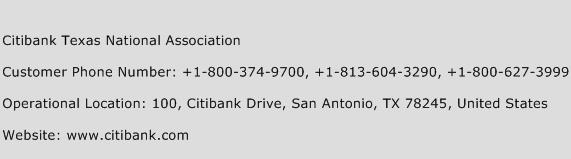 Citibank Texas National Association Phone Number Customer Service