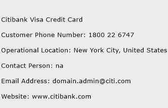 Citibank Visa Credit Card Phone Number Customer Service
