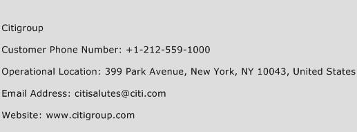 Citigroup Phone Number Customer Service