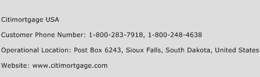 Citimortgage USA Phone Number Customer Service