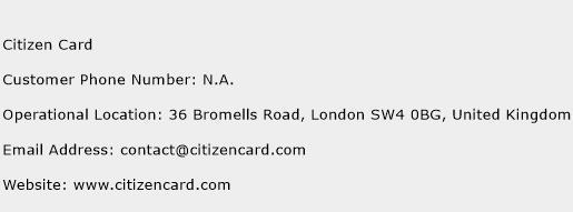 Citizen Card Phone Number Customer Service