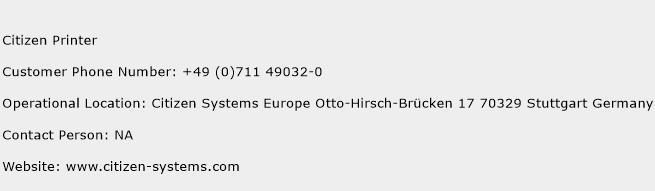 Citizen Printer Phone Number Customer Service