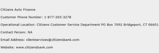 Citizens Auto Finance Phone Number Customer Service