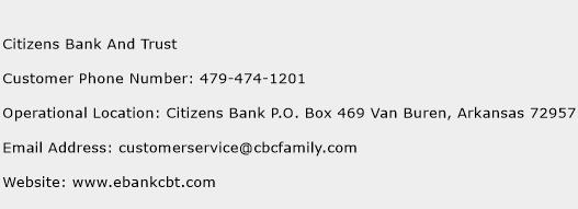 Citizens Bank And Trust Phone Number Customer Service