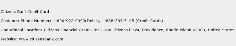 Citizens Bank Debit Card Phone Number Customer Service