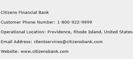 Citizens Financial Bank Phone Number Customer Service