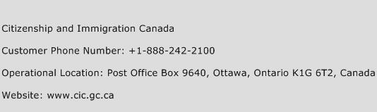 Citizenship and Immigration Canada Phone Number Customer Service