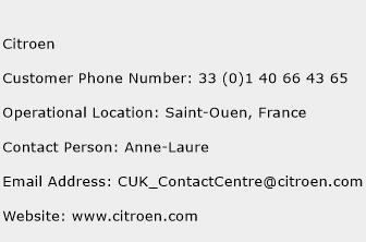Citroen Phone Number Customer Service