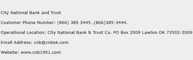City National Bank and Trust Phone Number Customer Service