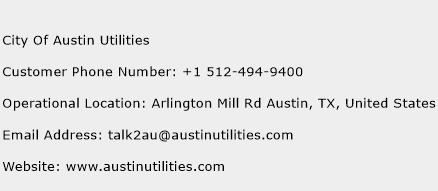 City Of Austin Utilities Phone Number Customer Service