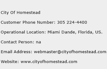 City Of Homestead Phone Number Customer Service