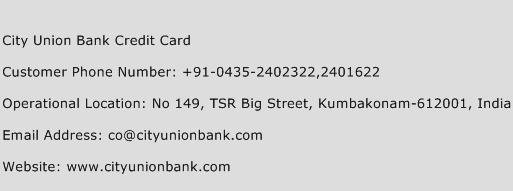 City Union Bank Credit Card Phone Number Customer Service