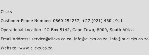 Clicks Phone Number Customer Service