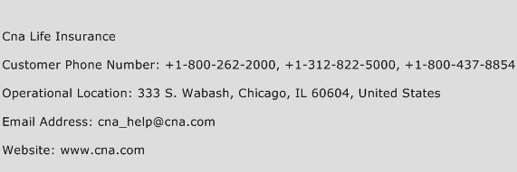 Cna Life Insurance Phone Number Customer Service