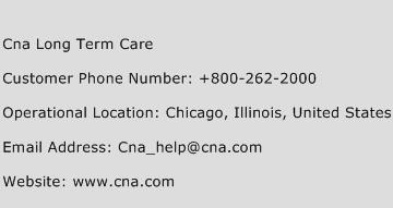 Cna Long Term Care Phone Number Customer Service