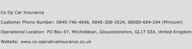Co Op Car Insurance Phone Number Customer Service