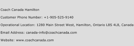 Coach Canada Hamilton Phone Number Customer Service
