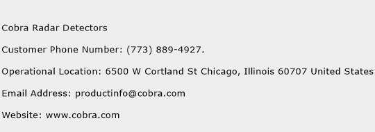Cobra Radar Detectors Phone Number Customer Service