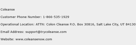 Coleanse Phone Number Customer Service