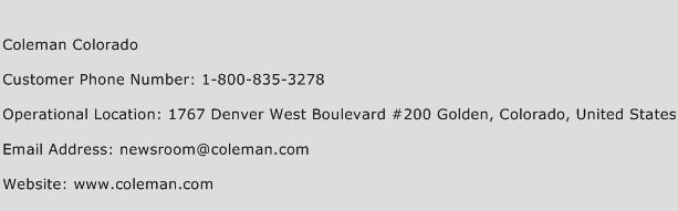 Coleman Colorado Phone Number Customer Service
