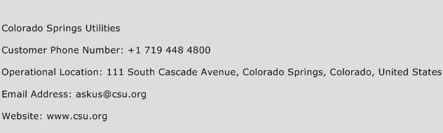 Colorado Springs Utilities Phone Number Customer Service