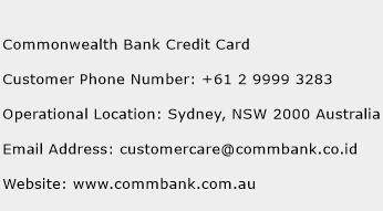 Commonwealth Bank Credit Card Phone Number Customer Service