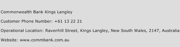 Commonwealth Bank Kings Langley Phone Number Customer Service