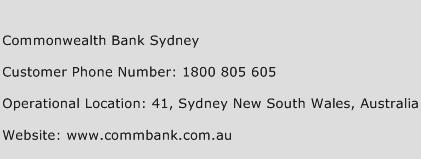 Commonwealth Bank Sydney Phone Number Customer Service