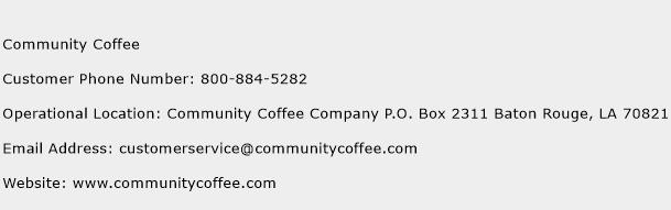 Community Coffee Phone Number Customer Service