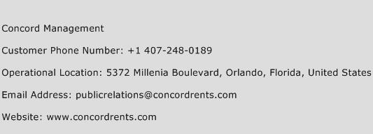 Concord Management Phone Number Customer Service