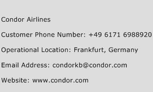Condor Airlines Phone Number Customer Service