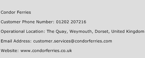 Condor Ferries Phone Number Customer Service