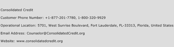 Consolidated Credit Phone Number Customer Service
